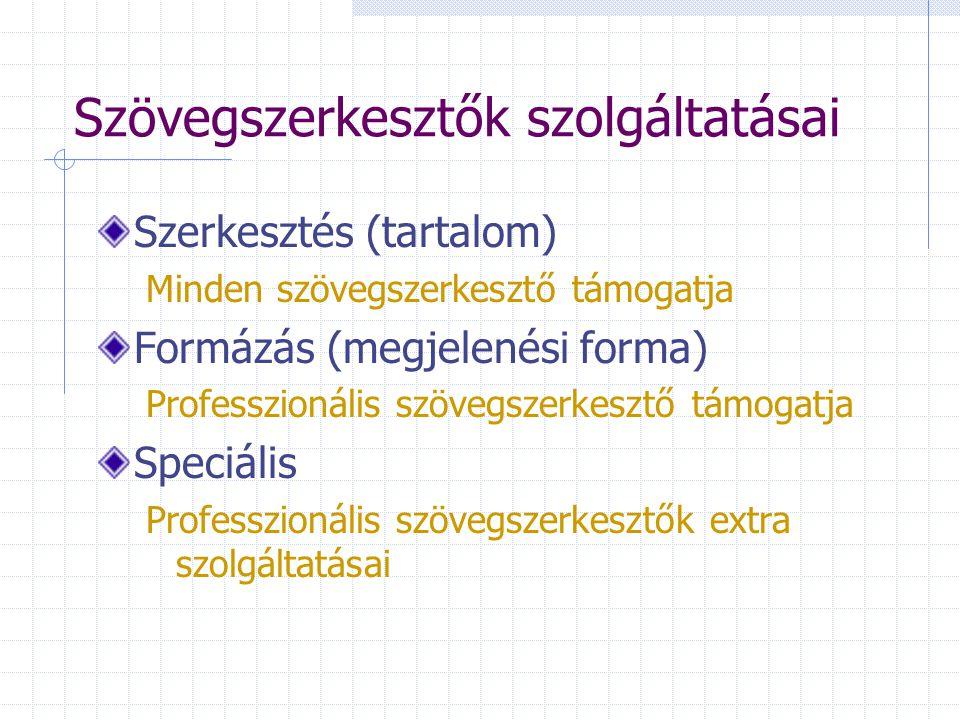 Szövegszerkesztők szolgáltatásai Szerkesztés (tartalom) Minden szövegszerkesztő támogatja Formázás (megjelenési forma) Professzionális szövegszerkeszt