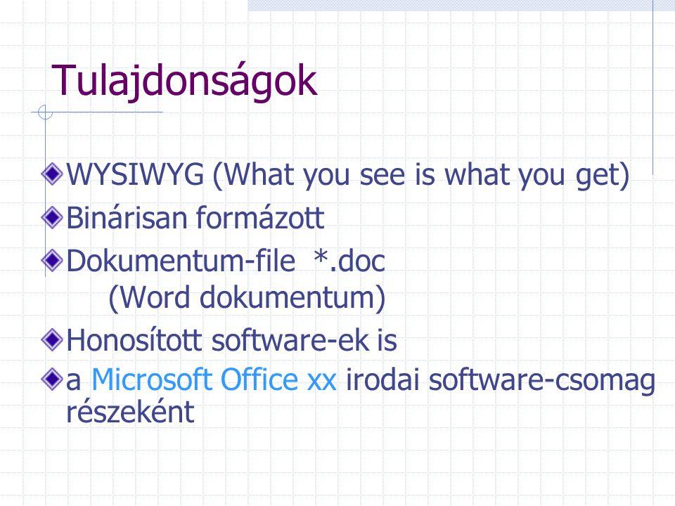 Tulajdonságok WYSIWYG (What you see is what you get) Binárisan formázott Dokumentum-file *.doc (Word dokumentum) Honosított software-ek is a Microsoft