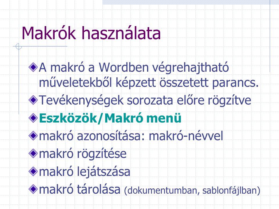 Makrók használata A makró a Wordben végrehajtható műveletekből képzett összetett parancs. Tevékenységek sorozata előre rögzítve Eszközök/Makró menü ma