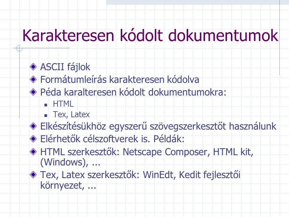 Karakteresen kódolt dokumentumok ASCII fájlok Formátumleírás karakteresen kódolva Péda karalteresen kódolt dokumentumokra: HTML Tex, Latex Elkészítésü