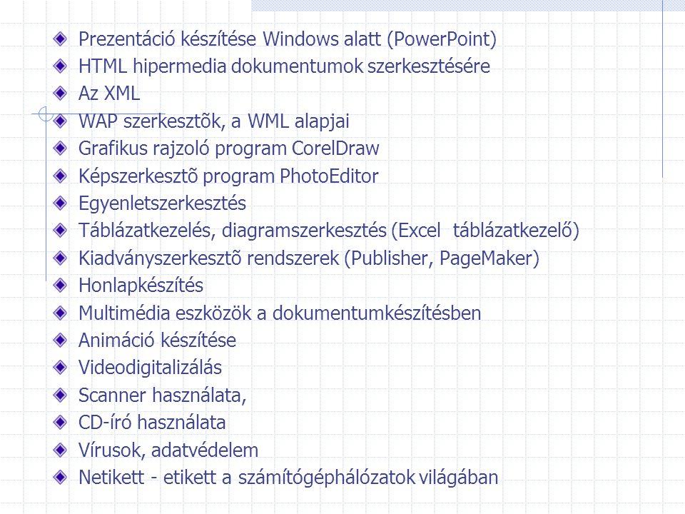 Prezentáció készítése Windows alatt (PowerPoint) HTML hipermedia dokumentumok szerkesztésére Az XML WAP szerkesztõk, a WML alapjai Grafikus rajzoló pr
