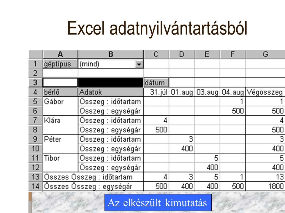 Excel adatnyilvántartásból Az elkészült kimutatás