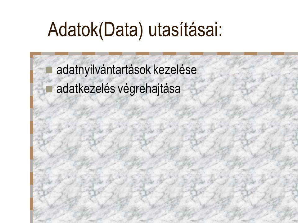 Adatok(Data) utasításai: adatnyilvántartások kezelése adatkezelés végrehajtása