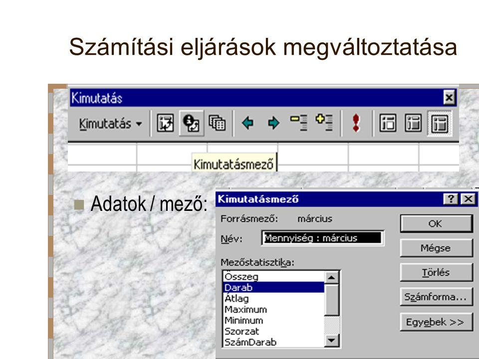 Számítási eljárások megváltoztatása Adatok / mező: