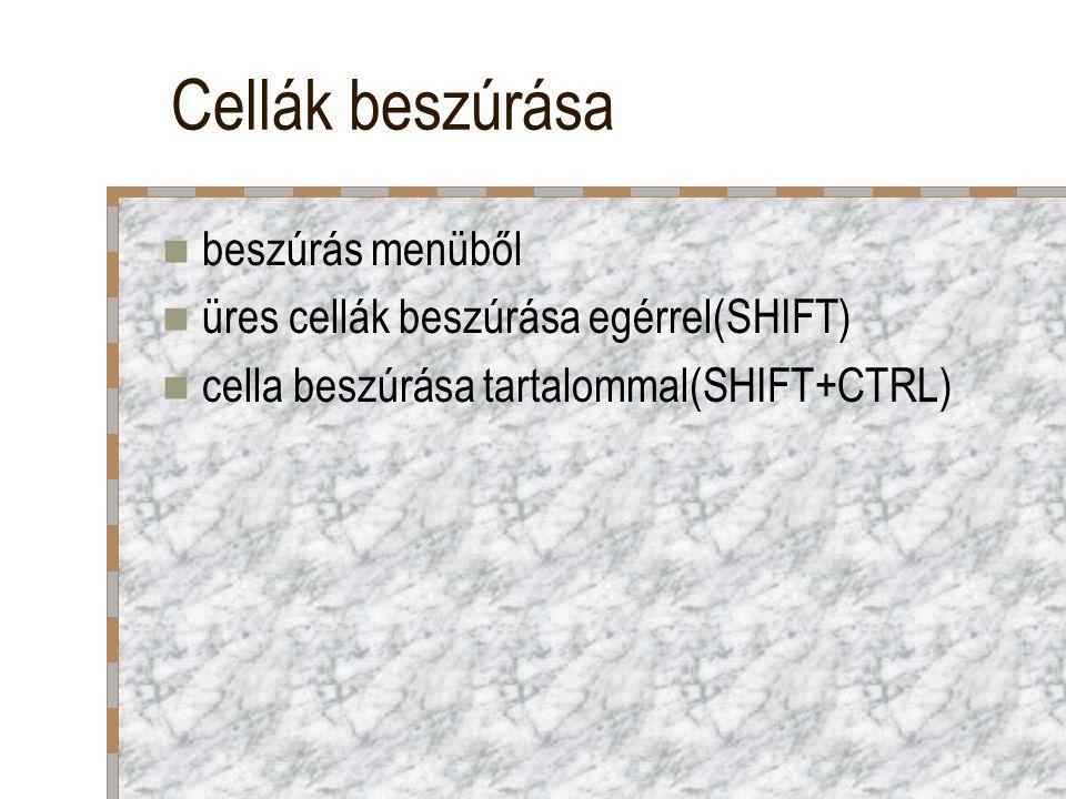 Cellák beszúrása beszúrás menüből üres cellák beszúrása egérrel(SHIFT) cella beszúrása tartalommal(SHIFT+CTRL)