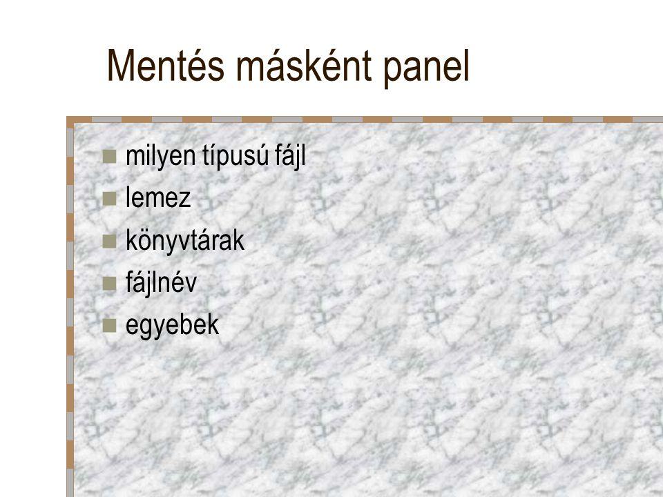 Mentés másként panel milyen típusú fájl lemez könyvtárak fájlnév egyebek