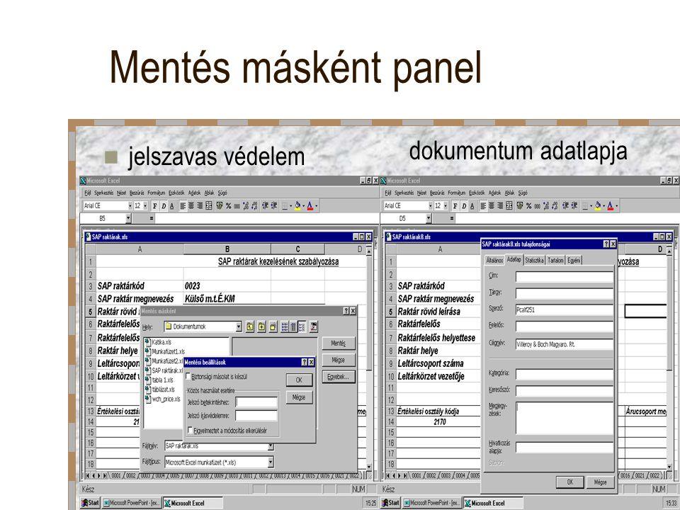 Mentés másként panel jelszavas védelem dokumentum adatlapja
