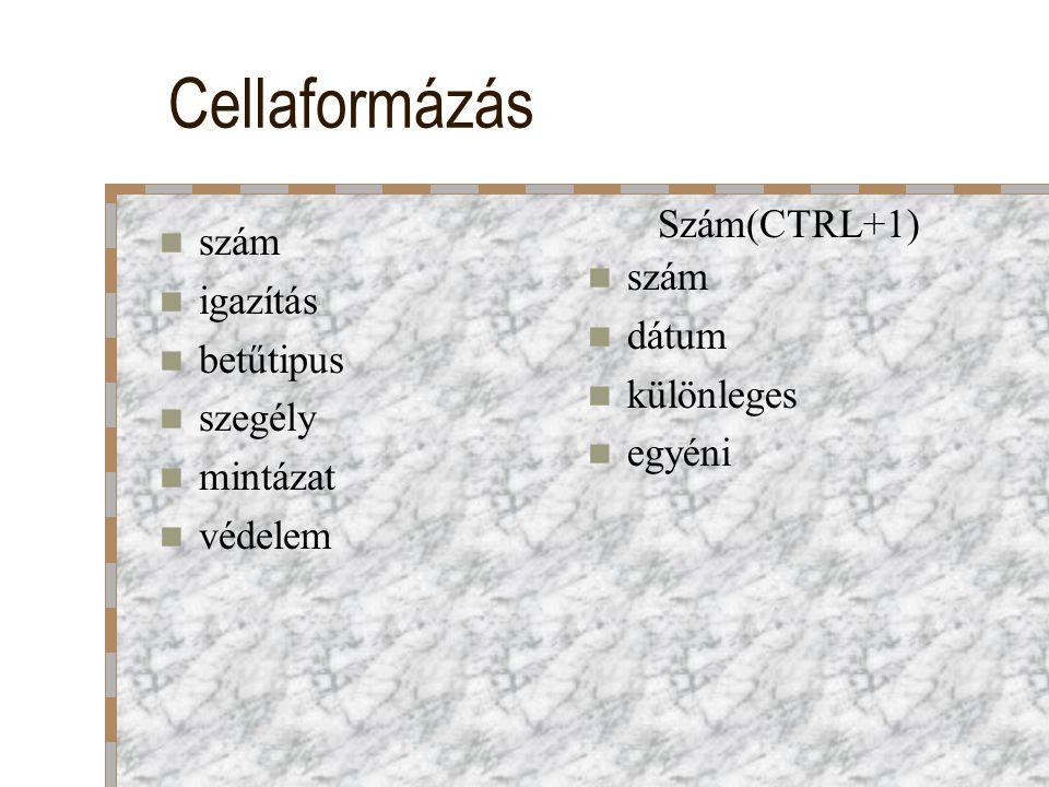 Cellaformázás szám igazítás betűtipus szegély mintázat védelem szám dátum különleges egyéni Szám(CTRL+1)