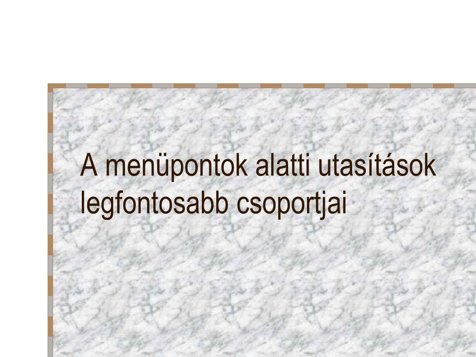 Adatok átrendezése Vontatási módszer Adatok / Sorba rendez: Érték rendezés: