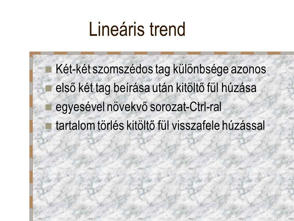 Lineáris trend Két-két szomszédos tag különbsége azonos első két tag beírása után kitöltő fül húzása egyesével növekvő sorozat-Ctrl-ral tartalom törlé