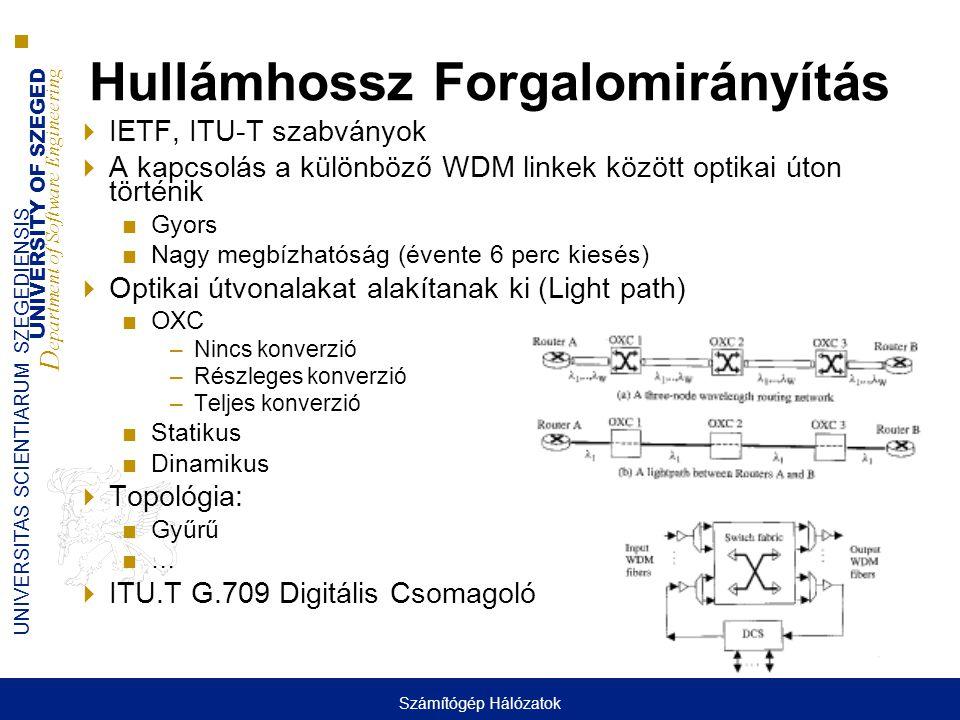 UNIVERSITY OF SZEGED D epartment of Software Engineering UNIVERSITAS SCIENTIARUM SZEGEDIENSIS Hullámhossz Forgalomirányítás  IETF, ITU-T szabványok  A kapcsolás a különböző WDM linkek között optikai úton történik ■Gyors ■Nagy megbízhatóság (évente 6 perc kiesés)  Optikai útvonalakat alakítanak ki (Light path) ■OXC –Nincs konverzió –Részleges konverzió –Teljes konverzió ■Statikus ■Dinamikus  Topológia: ■Gyűrű ■…  ITU.T G.709 Digitális Csomagoló Számítógép Hálózatok