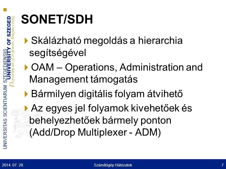 UNIVERSITY OF SZEGED D epartment of Software Engineering UNIVERSITAS SCIENTIARUM SZEGEDIENSIS SONET/SDH  Skálázható megoldás a hierarchia segítségével  OAM – Operations, Administration and Management támogatás  Bármilyen digitális folyam átvihető  Az egyes jel folyamok kivehetőek és behelyezhetőek bármely ponton (Add/Drop Multiplexer - ADM) 2014.