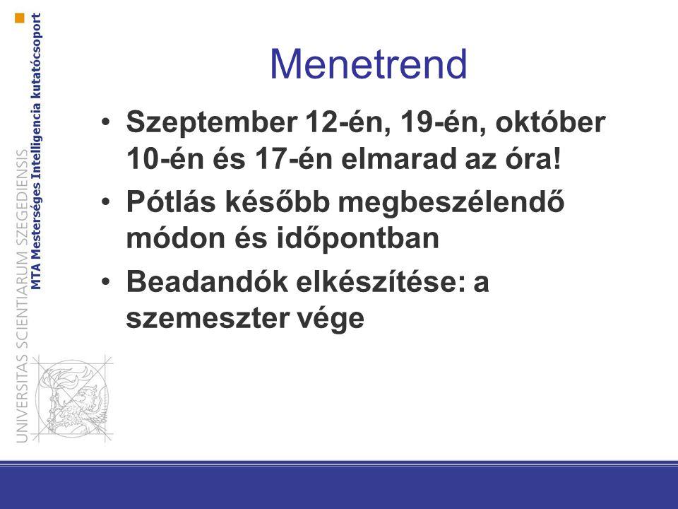 Menetrend Szeptember 12-én, 19-én, október 10-én és 17-én elmarad az óra! Pótlás később megbeszélendő módon és időpontban Beadandók elkészítése: a sze