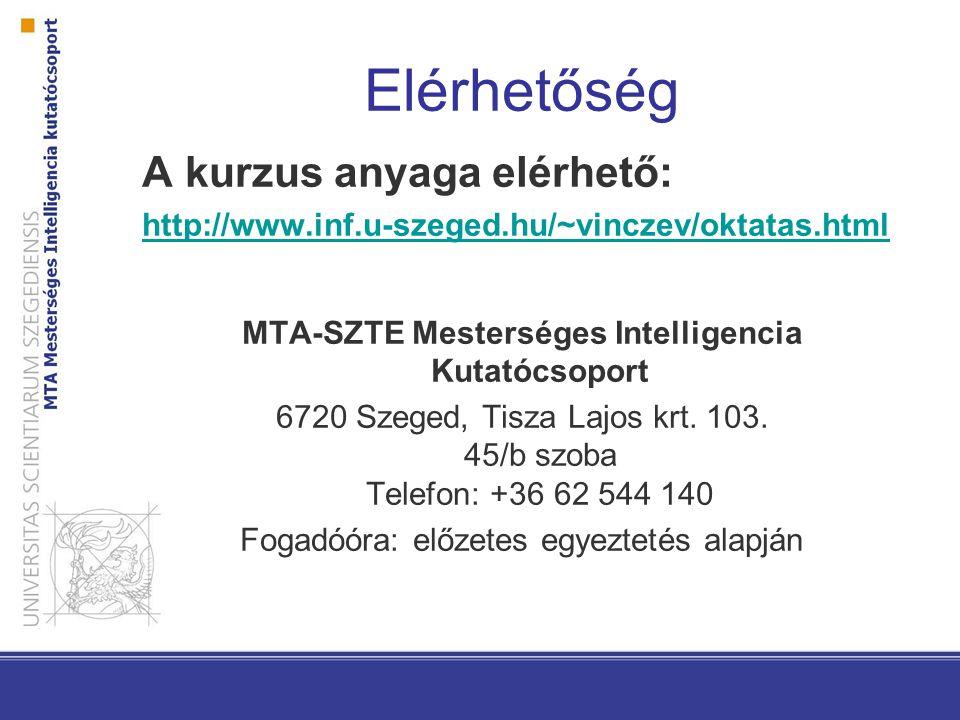 Elérhetőség A kurzus anyaga elérhető: http://www.inf.u-szeged.hu/~vinczev/oktatas.html MTA-SZTE Mesterséges Intelligencia Kutatócsoport 6720 Szeged, Tisza Lajos krt.