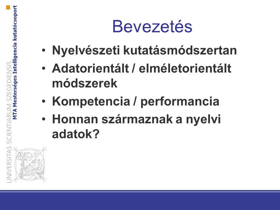 Bevezetés Nyelvészeti kutatásmódszertan Adatorientált / elméletorientált módszerek Kompetencia / performancia Honnan származnak a nyelvi adatok