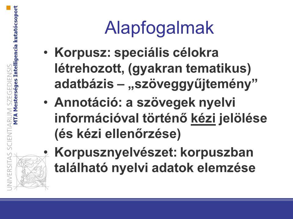 """Alapfogalmak Korpusz: speciális célokra létrehozott, (gyakran tematikus) adatbázis – """"szöveggyűjtemény Annotáció: a szövegek nyelvi információval történő kézi jelölése (és kézi ellenőrzése) Korpusznyelvészet: korpuszban található nyelvi adatok elemzése"""