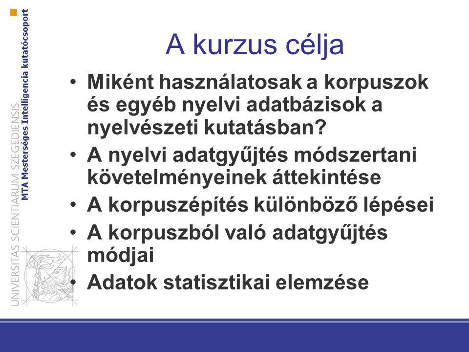 A kurzus célja Miként használatosak a korpuszok és egyéb nyelvi adatbázisok a nyelvészeti kutatásban? A nyelvi adatgyűjtés módszertani követelményeine