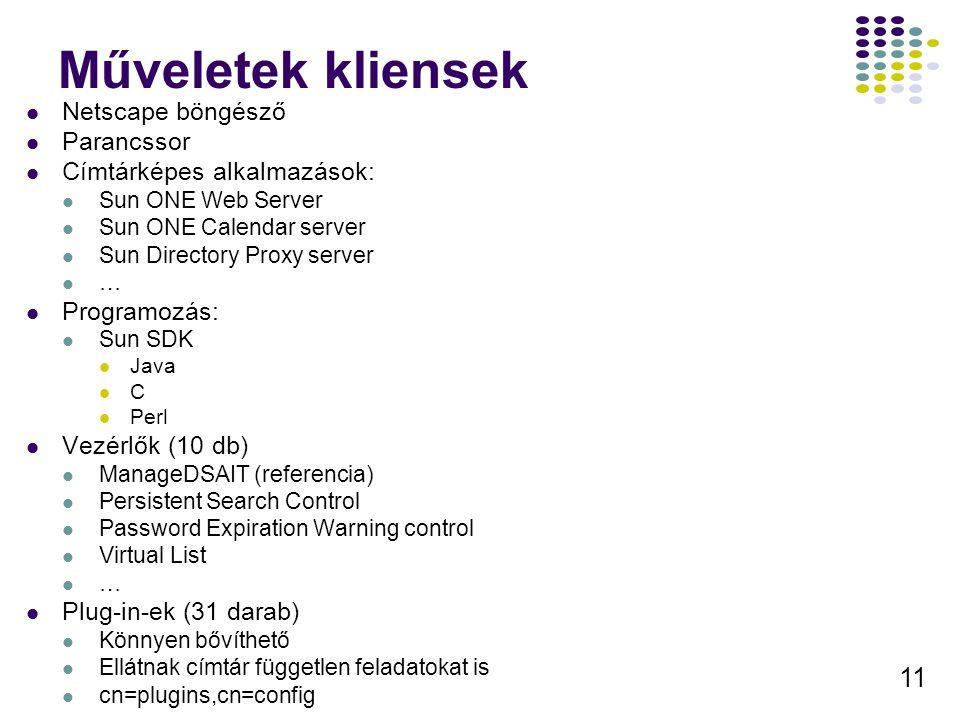 11 Műveletek kliensek Netscape böngésző Parancssor Címtárképes alkalmazások: Sun ONE Web Server Sun ONE Calendar server Sun Directory Proxy server … P