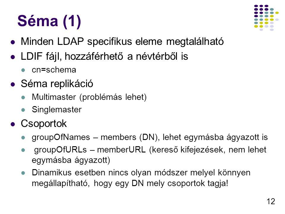 12 Séma (1) Minden LDAP specifikus eleme megtalálható LDIF fájl, hozzáférhető a névtérből is cn=schema Séma replikáció Multimaster (problémás lehet) S