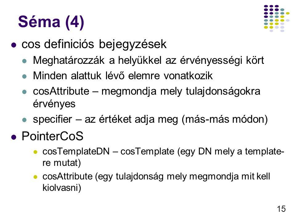 15 Séma (4) cos definiciós bejegyzések Meghatározzák a helyükkel az érvényességi kört Minden alattuk lévő elemre vonatkozik cosAttribute – megmondja m