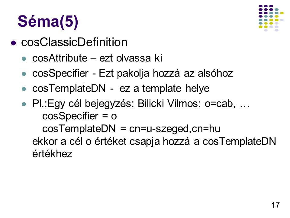 17 Séma(5) cosClassicDefinition cosAttribute – ezt olvassa ki cosSpecifier - Ezt pakolja hozzá az alsóhoz cosTemplateDN - ez a template helye Pl.:Egy