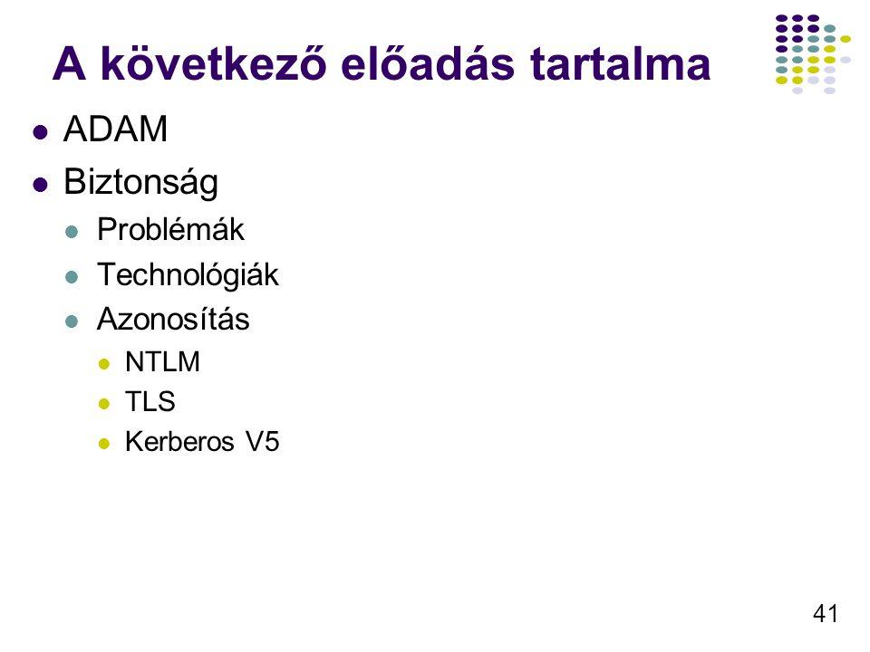 41 A következő előadás tartalma ADAM Biztonság Problémák Technológiák Azonosítás NTLM TLS Kerberos V5
