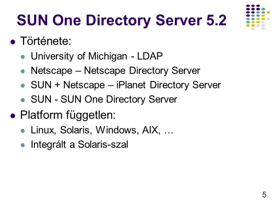 6 Névtér DNS alapú a javallot (RFC2247), de támogatja az X.500 alapút is Tetszőleges számú elnevezési környezetet támogat Nem támogatja a DNS SRV alapú szolgáltatás hirdetést(?) Sok más termék használja ezt a névteret Sun ONE Identity Server,… LDBM adatbázis Alapvetően egy adatbázis – egy név környezet Egy adatbázis – több környezet Több adatbázis – egy környezet
