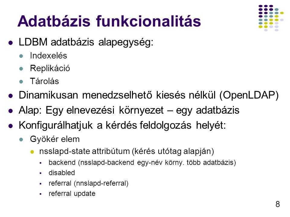 19 Séma(6) cosIndirectDefinition cosIndirectSpecifier – a cél bejegyzésen egy érték, ezt DN-nek tekintve lekérdezi az cosAttribute értékét Pl.: cosIndirectSpecifier = manager A manager tulajdonság a menedzserteljes DN címét tartalmazza, így a menedszer bejegyzés egy a cosAttribute tulajdonságban megadott értékeét foja megkani a cél elem.