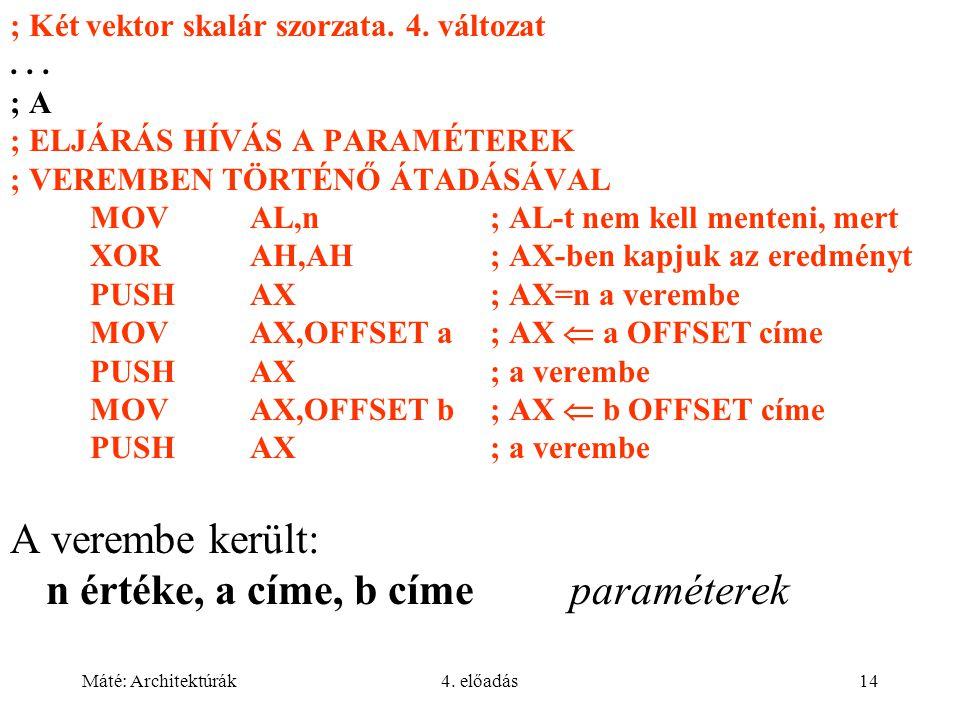 Máté: Architektúrák4. előadás14 ; Két vektor skalár szorzata.