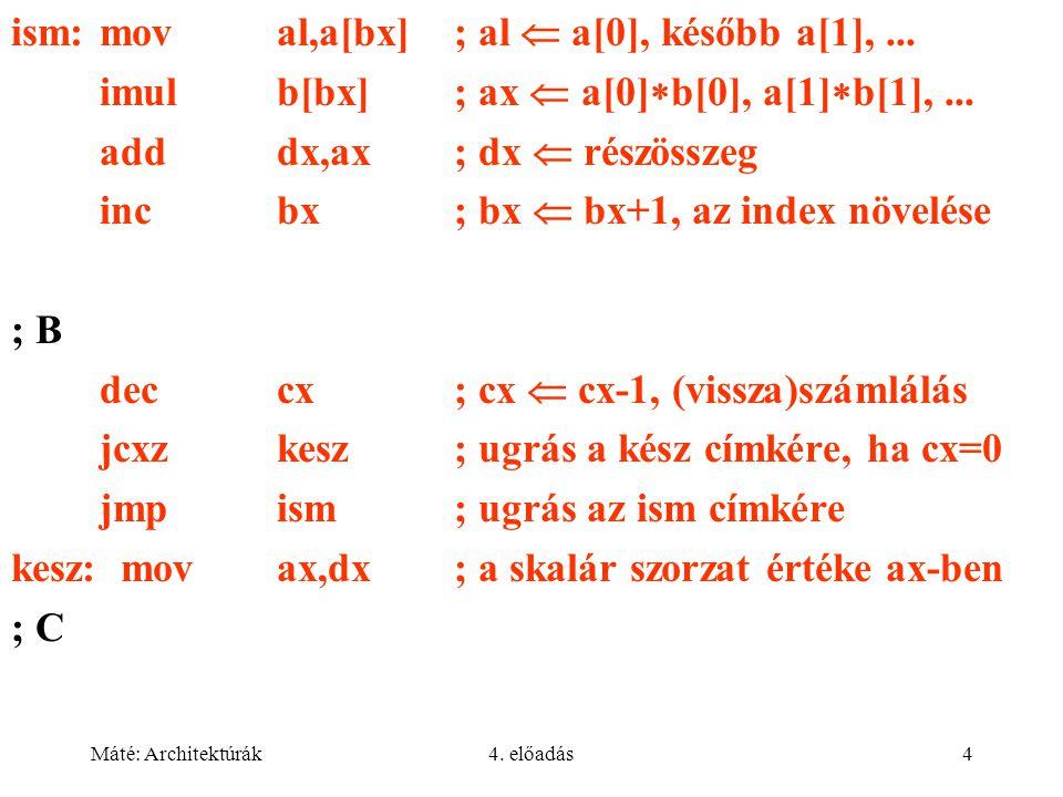 Máté: Architektúrák4. előadás4 ism:moval,a[bx]; al  a[0], később a[1],...