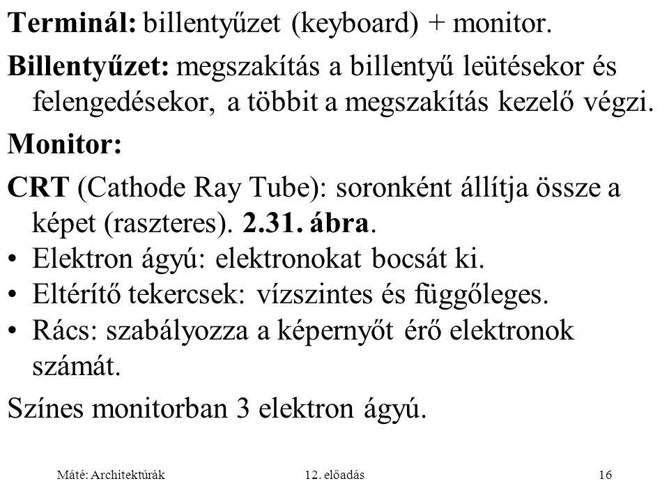 Máté: Architektúrák12. előadás16 Terminál: billentyűzet (keyboard) + monitor.