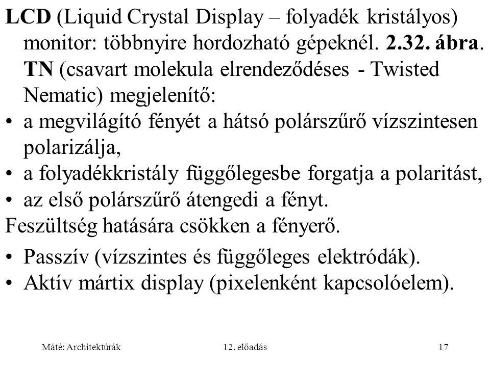 Máté: Architektúrák12. előadás17 LCD (Liquid Crystal Display – folyadék kristályos) monitor: többnyire hordozható gépeknél. 2.32. ábra. TN (csavart mo