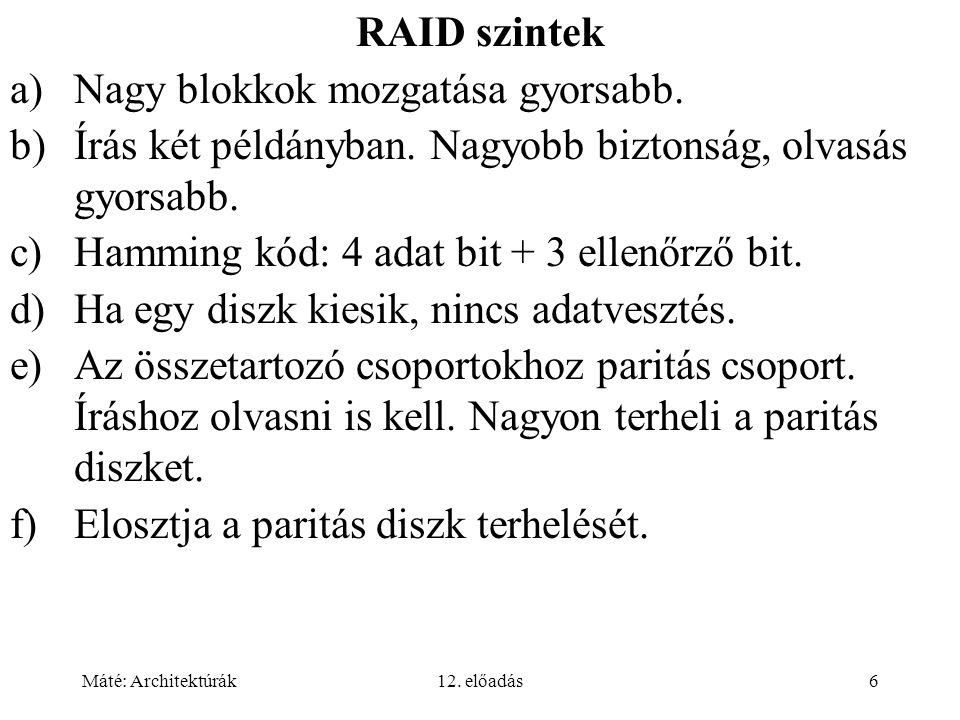 Máté: Architektúrák12. előadás6 RAID szintek a)Nagy blokkok mozgatása gyorsabb.