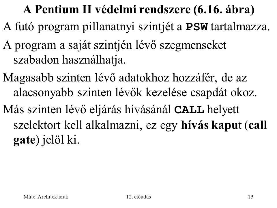 Máté: Architektúrák12. előadás15 A Pentium II védelmi rendszere (6.16.