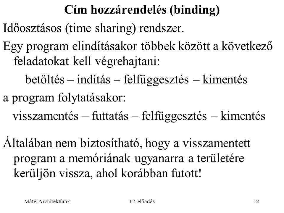 Máté: Architektúrák12. előadás24 Cím hozzárendelés (binding) Időosztásos (time sharing) rendszer.