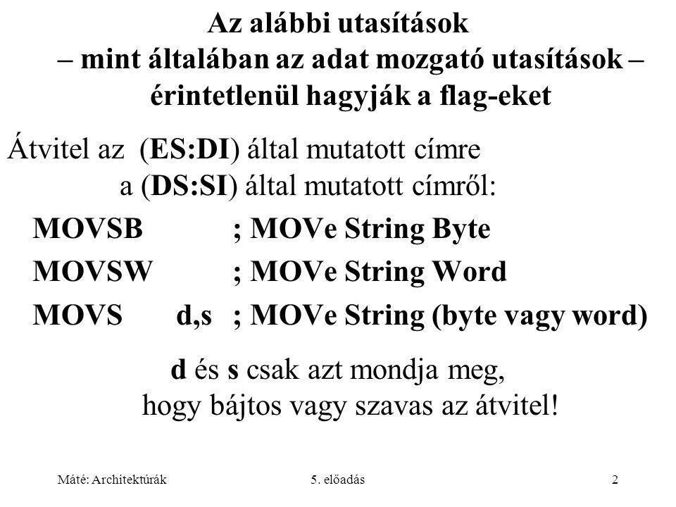 Máté: Architektúrák5.előadás53 IJVM néhány utasítása: 4.11.