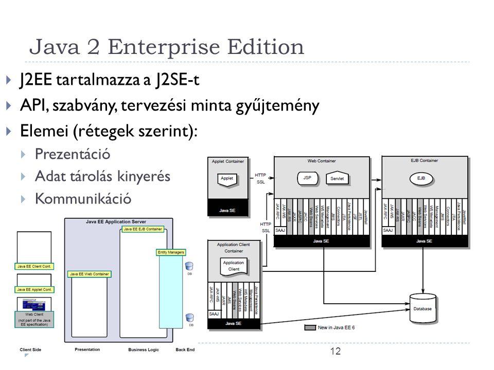 12 Java 2 Enterprise Edition  J2EE tartalmazza a J2SE-t  API, szabvány, tervezési minta gyűjtemény  Elemei (rétegek szerint):  Prezentáció  Adat