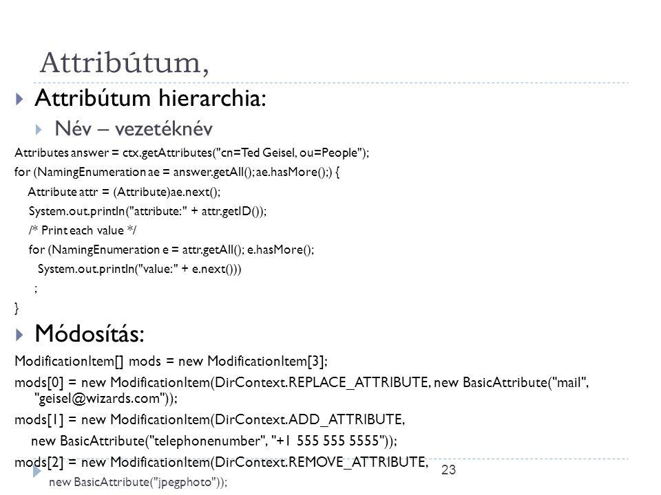 23 Attribútum,  Attribútum hierarchia:  Név – vezetéknév Attributes answer = ctx.getAttributes(