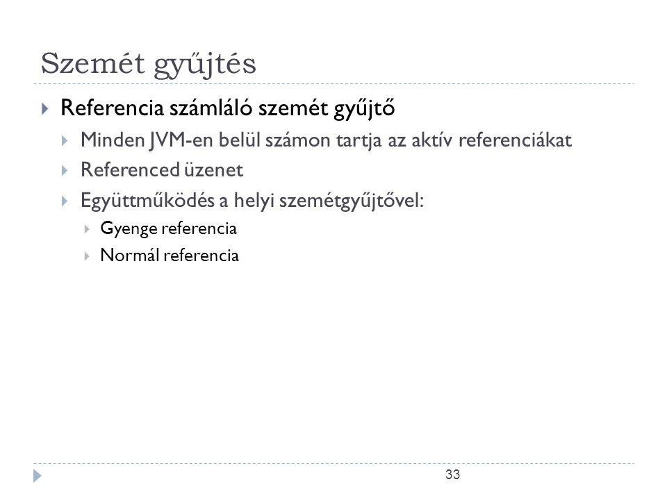 33 Szemét gyűjtés  Referencia számláló szemét gyűjtő  Minden JVM-en belül számon tartja az aktív referenciákat  Referenced üzenet  Együttműködés a