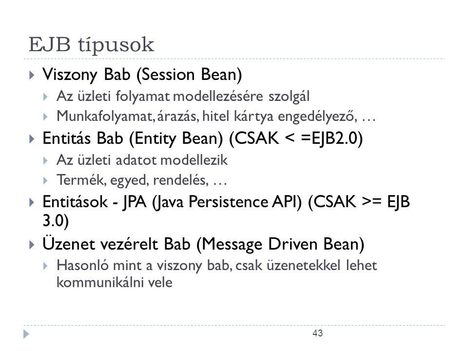 43 EJB típusok  Viszony Bab (Session Bean)  Az üzleti folyamat modellezésére szolgál  Munkafolyamat, árazás, hitel kártya engedélyező, …  Entitás