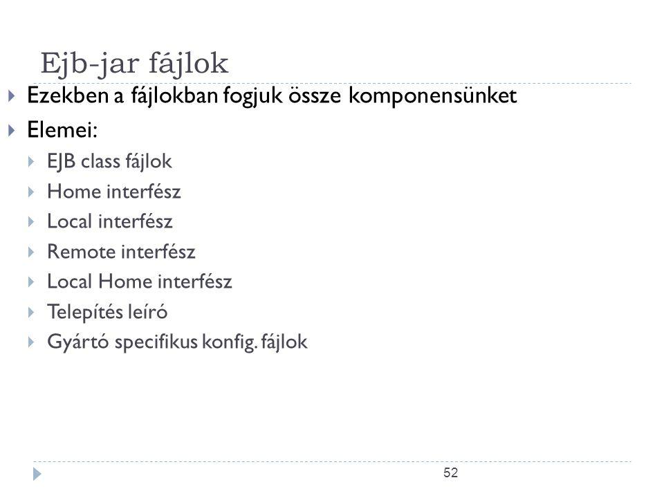52 Ejb-jar fájlok  Ezekben a fájlokban fogjuk össze komponensünket  Elemei:  EJB class fájlok  Home interfész  Local interfész  Remote interfész