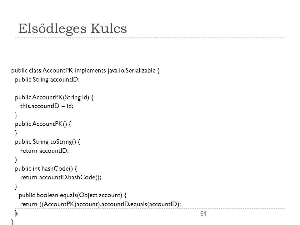 61 Elsődleges Kulcs public class AccountPK implements java.io.Serializable { public String accountID; public AccountPK(String id) { this.accountID = i