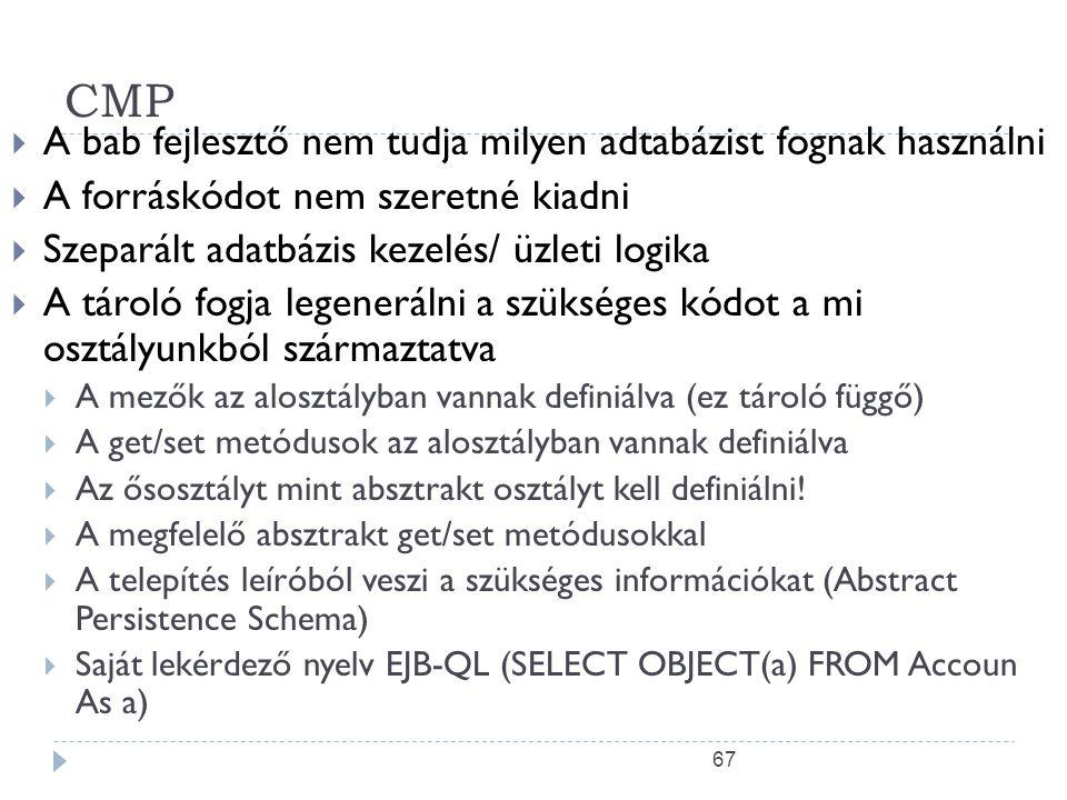 67 CMP  A bab fejlesztő nem tudja milyen adtabázist fognak használni  A forráskódot nem szeretné kiadni  Szeparált adatbázis kezelés/ üzleti logika