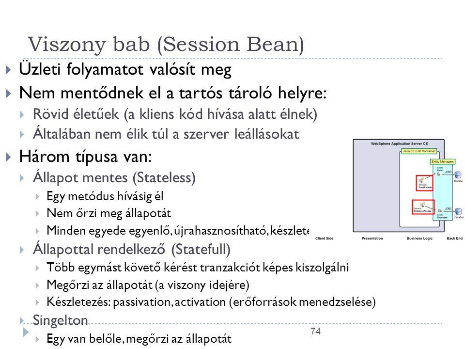 74 Viszony bab (Session Bean)  Üzleti folyamatot valósít meg  Nem mentődnek el a tartós tároló helyre:  Rövid életűek (a kliens kód hívása alatt él