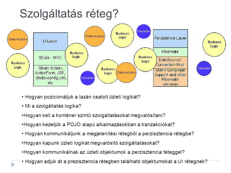 Szolgáltatás réteg? Hogyan pozicionáljuk a lazán csatolt üzleti logikát? Mi a szolgáltatás logika? Hogyan kell a konténer szintű szolgáltatásokat megv