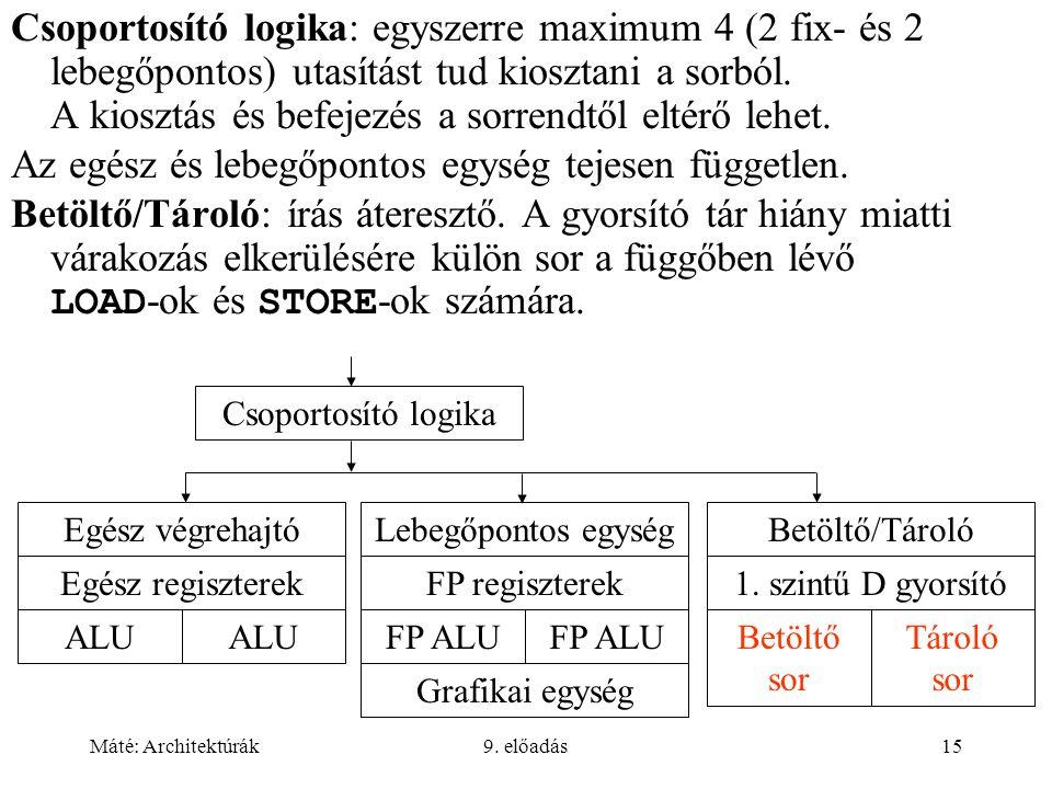Máté: Architektúrák9. előadás15 Csoportosító logika: egyszerre maximum 4 (2 fix- és 2 lebegőpontos) utasítást tud kiosztani a sorból. A kiosztás és be