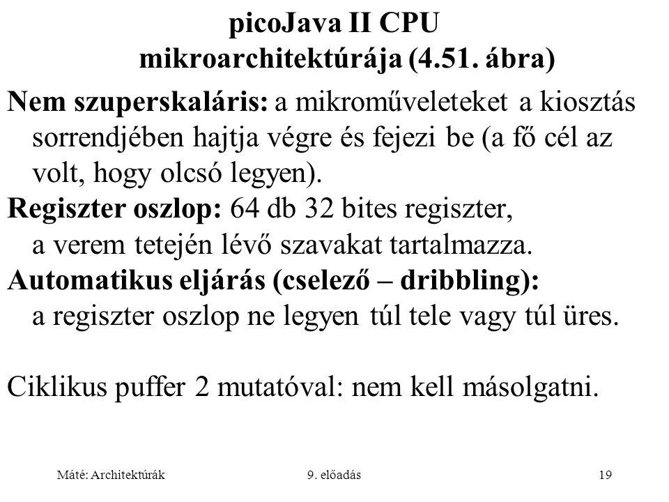 Máté: Architektúrák9. előadás19 picoJava II CPU mikroarchitektúrája (4.51.