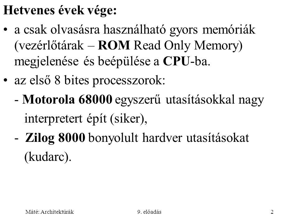 Máté: Architektúrák9. előadás2 Hetvenes évek vége: a csak olvasásra használható gyors memóriák (vezérlőtárak – ROM Read Only Memory) megjelenése és be