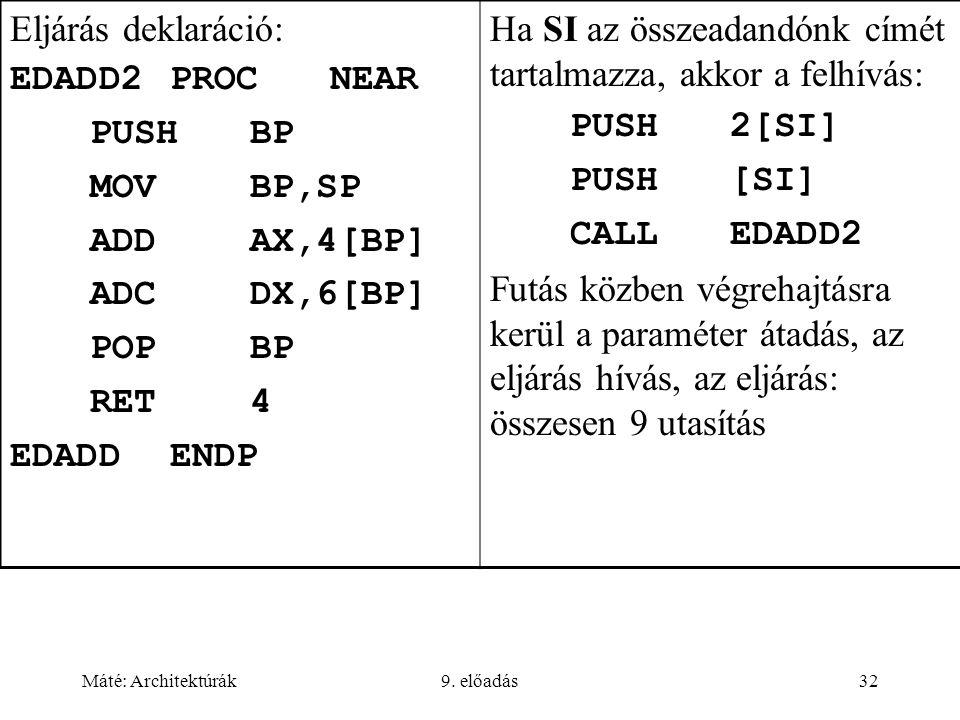 Máté: Architektúrák9. előadás32 Eljárás deklaráció: EDADD2PROCNEAR PUSHBP MOVBP,SP ADDAX,4[BP] ADCDX,6[BP] POPBP RET4 EDADDENDP Ha SI az összeadandónk