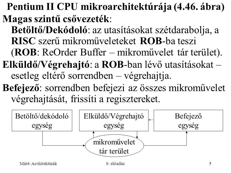 Máté: Architektúrák9. előadás5 Pentium II CPU mikroarchitektúrája (4.46.